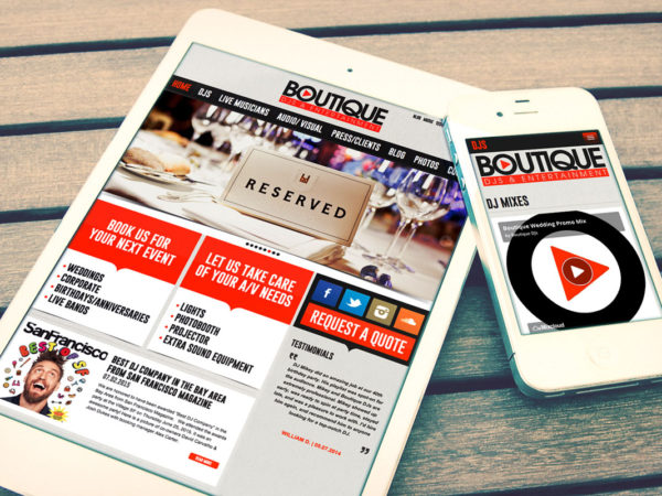 boutique djs website design mobile