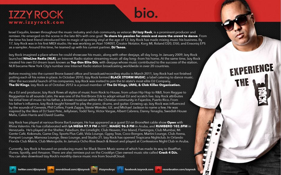 Press kit design for dj izzy rock r one creative web for Dj biography template