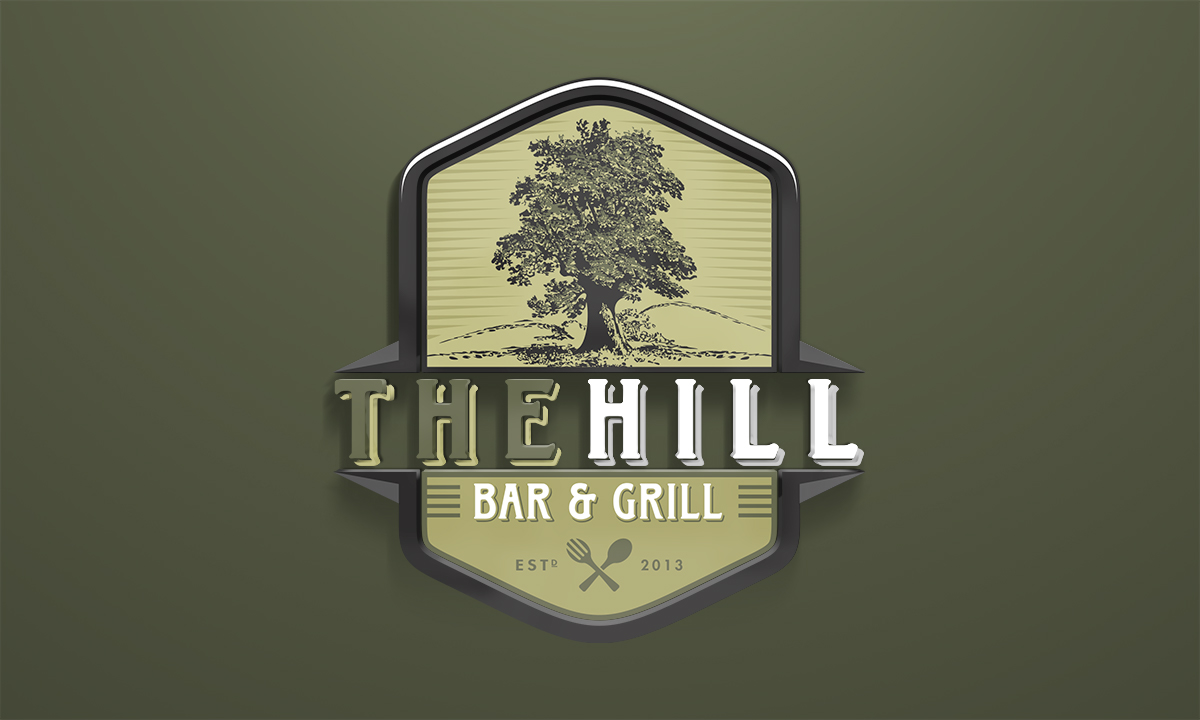 logo design for the hill bar grill r one creative