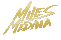 miles medina logo design gold