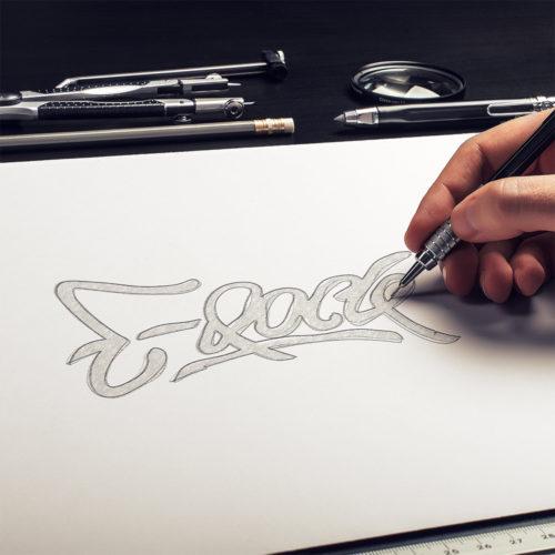 Sketching Ideas for DJ E-Rock's Logo Design
